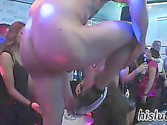 Stunning starlets suck cocks at a party