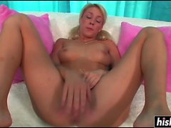 Blonde beauty gets a big black cock