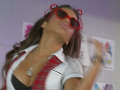Latina Lupe Fuentes with cum on glasses