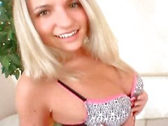 Sweet little Russian blonde teases her moist slit with fingers