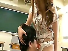 Japanese Babe With A Strapon In A Classroom