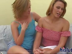 Steaming hot lesbian action with big toys