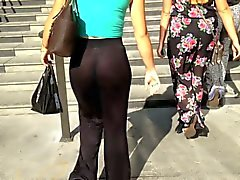 See thru Amazing ass sheer pants thong