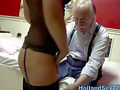 Euro slut eaten out by a geezer
