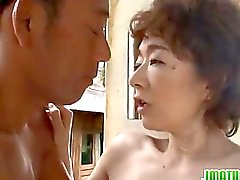SLim mature gets nasty in outdoor