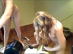 Two-girl sybian display