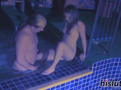 Lovely Thea gets nailed in the pool
