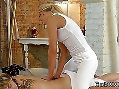 Blonde gets pussy massage with broom