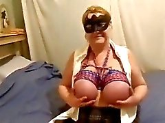 mature bbw big bound tits masturbates for Master