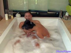 Man gets jerked off by Stephanie Cane in a jacuzzi