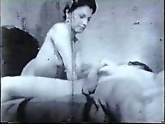 Vintage hottie fucked on bed by masked guitar hero with big cock