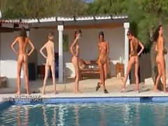 Six naked girls by the pool from europe