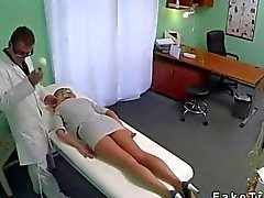 Blonde with hot legs fucked by her doctor