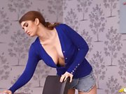 Big British titties pop out of her sexy cardigan