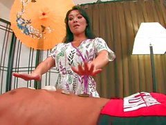 Gorgeous asian Asa Akira gives a hot massage