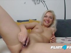 Blonde Bombshell Izabelllaa Fondles Her Pierced Nipples and Pussy