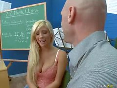 Big titted blonde Tasha Reign has oral sex with well hung teacher