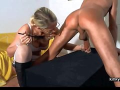 Mistress Gemma spanking and milking me