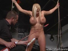 Busty slave Melanie Moons electro tortures and strict german bdsm