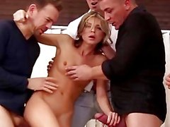 Tiny Russian Gina Gerson takes 4 Cocks