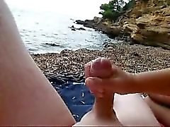 Obtaining my stroked that is shaved in the seaside
