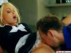 Busty maid Jesse Jane nailed in the kitchen and cum facialed