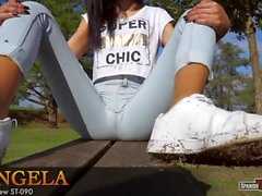Spanish beautiful teen in skinny jeans (cameltoe)