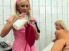 Nasty blonde honey comes to the doctor