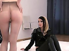 Luxury lingerie and pantyhose on schoolmates with strapons