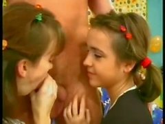 tow verry young girls fucking older man