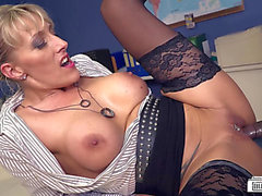 Obscene German mother I'd like to fuck secretary receives happy by BBC in sexy interracial act menacing-fearsome PornDoe