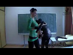 CBT Sadistic Femdom - Lady Chantal and Miss Jane - A Slave In The Classroom