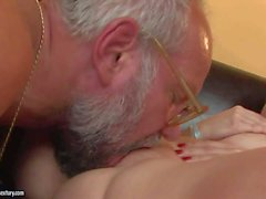 young busty brunette pleasures turned on grandpa
