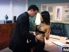 Beautiful secretary rides a dick in the office