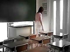 Cute Asian schoolgirl is touched and groped by three horny