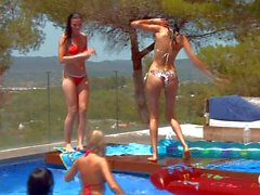 Lesbian pool party with Lily and Megana