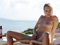 blond, masturbation, de plein air, frottement