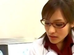 Asian nurse greedily sucking patient cock