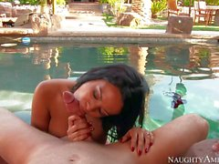 Latina Luna Star strokes and rides hard dick by the pool