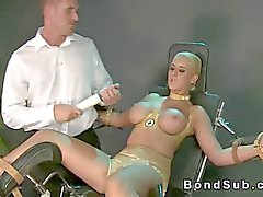Huge tits blonde strapped and toyed hard