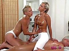 Love Creampie Horny blondes enjoy big hard cock