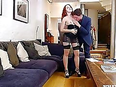Red Head Amarna Miller Gets Cum on her Hairy Pussy