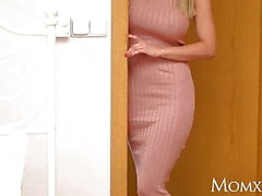 MOM Big tits Blonde MILF Nathaly Cherie licking teen pussy