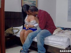 Busty latina in high heels Camila gives it to black guy