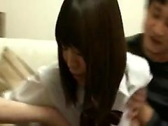 Pretty Asian schoolgirl has two boys drilling her pussy on