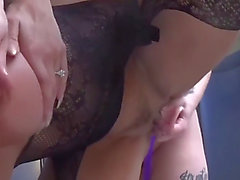 Tit slapping lesbians vibrator and thong on fuck