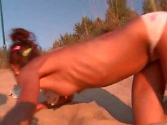 amateur, plage, brunette, masturbation, de plein air