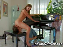 Small titted piano teacher Samantha Ryan gets hard fucked