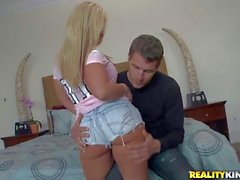 Big Ass blonde Austin Taylor removes her white thong for hot guy