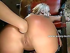 Cute ladies with incredible asses spanking and playing with toys fucked in anal threesome sex
